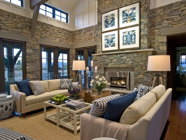 Blue and White Decor with Stone from Dogs Dishes and Decor
