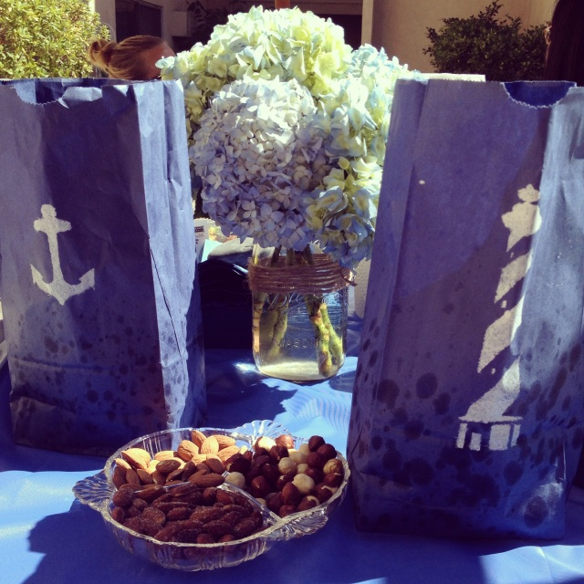 Simple snacks at a nautical themed pool party Dogs Dishes and Decor