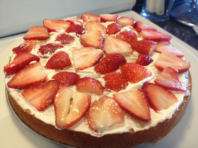 Strawberry layer cake on Dogs Dishes and Decor