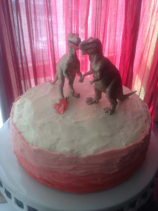 Ombre frosting and gilded dino Valentine's Day Cake from Dogs Dishes and Decor