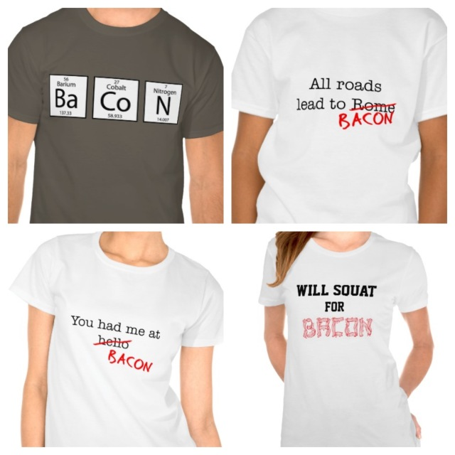 If you're as nuts as I am about bacon, you can buy these shirts here.